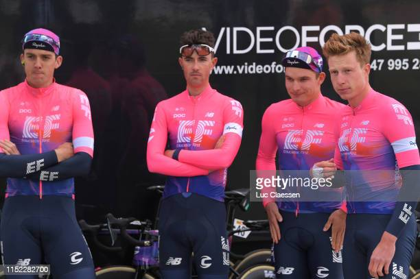 Start / Podium / Thomas Scully of New Zealand and Team EF Education First / James Whelan of Australia and Team EF Education First / Moreno Hofland of...