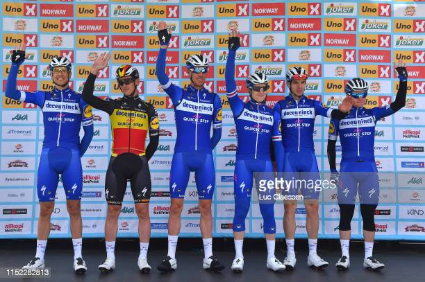 Start / Podium / Tim Declercq of Belgium and Team Deceuninck QuickStep / Remco Evenepoel of Belgium and Team Deceuninck QuickStep / Alvaro Jose Hodeg...