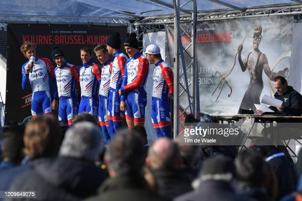Start / Podium / Tobias Ludvigsson of Sweden and Team GroupamaFDJ / Mickael Delage of France and Team GroupamaFDJ / Kévin Geniets of Luxembourg and...