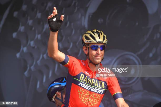 Start / Podium / Vincenzo Nibali of Italy and Bahrain Merida Pro Team / during the104th LiegeBastogneLiege 2018 a 2585km race from Liege to LiegeAns...