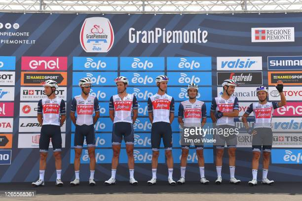 Start / Podium / Vincenzo Nibali of Italy, Gianluca Brambilla of Italy, Giulio Ciccone of Italy, Nicola Conci of Italy, Koen de Kort of The...