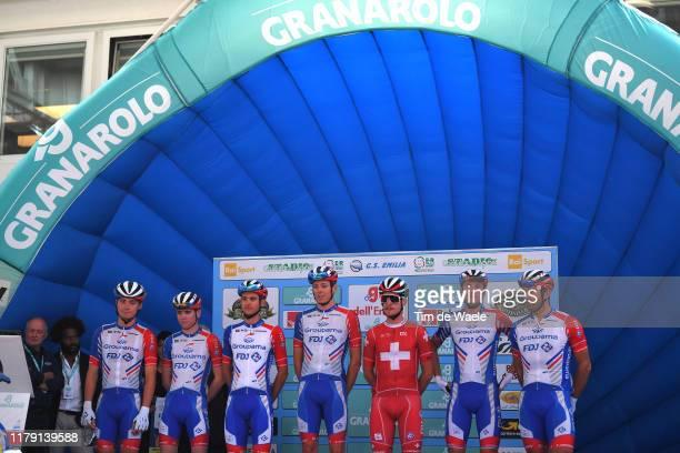 Start / Podium / William Bonnet of France and Team Groupama - FDJ / David Gaudu of France and Team Groupama - FDJ / Valentin Madouas of France and...