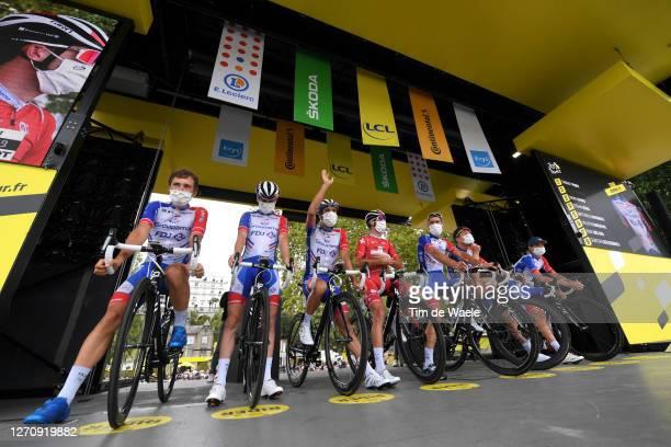 Start / Podium / William Bonnet of France, David Gaudu of France, Stefan Kung of Switzerland, Matthieu Ladagnous of France, Valentin Madouas of...