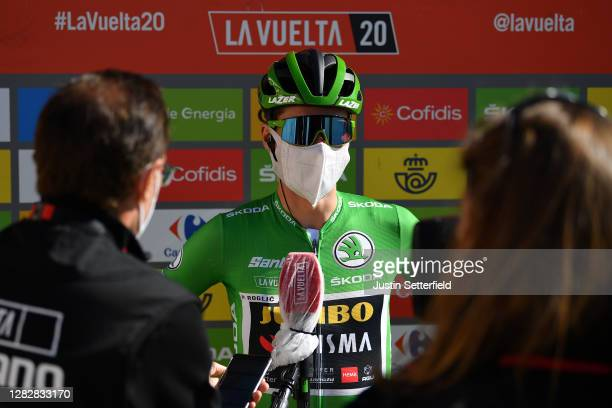 Start / Primoz Roglic of Slovenia and Team Jumbo - Visma Green Points Jersey / Interview / Press / Media / Cid Campeador Military Base, Castrillo del...