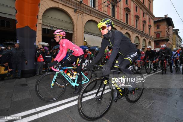 Start / Primoz Roglic of Slovenia and Team Jumbo Visma Pink Leader Jersey / Simon Yates of United Kingdom and Team Mitchelton Scott Purple Points...