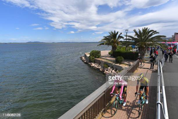Start / Primoz Roglic of Slovenia and Team Jumbo - Visma Pink Leader Jersey / Sepp Kuss of The United States and Team Jumbo - Visma / Orbetello City...