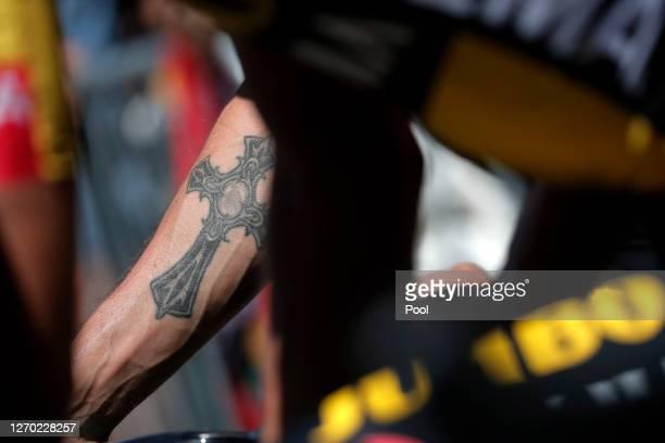 Start / Primoz Roglic of Slovenia and Team Jumbo - Visma / Tattoo / Detail view / Gap Village / during the 107th Tour de France 2020, Stage 5 a 183km...