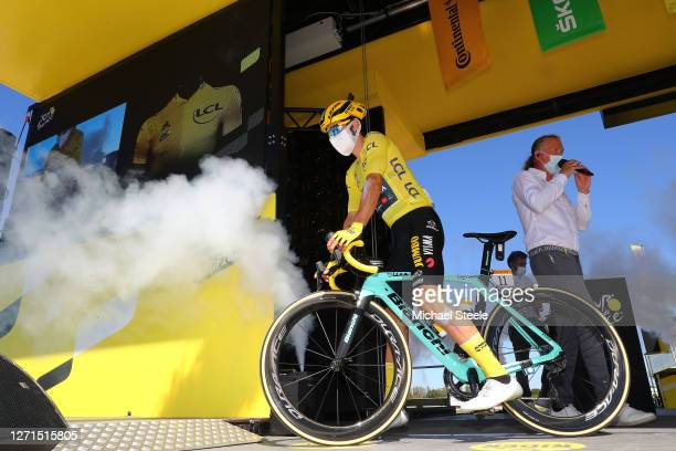 Start / Primoz Roglic of Slovenia and Team Jumbo - Visma Yellow Leader Jersey / Mask / Covid safety measures / Team Presentation / during the 107th...