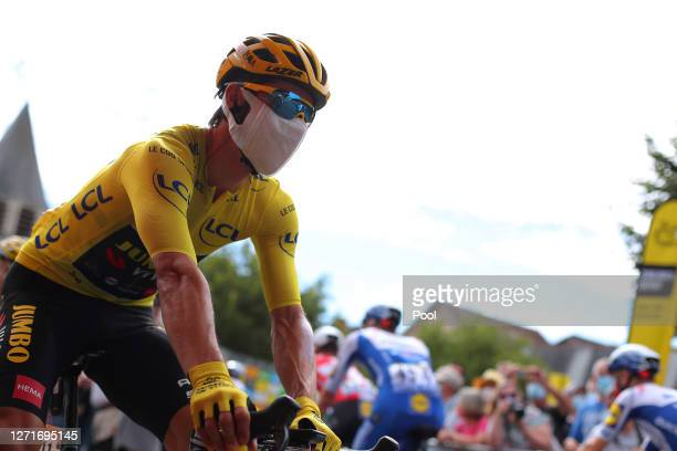Start / Primoz Roglic of Slovenia and Team Jumbo - Visma Yellow Leader Jersey / during the 107th Tour de France 2020, Stage 12 a 218km stage from...