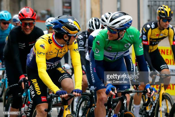 Start / Primoz Roglic of Slovenia and Team Jumbo - Visma Yellow Leader Jersey & Sam Bennett of Ireland and Team Deceuninck - Quick-Step Green sprint...