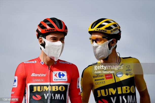 Start / Primoz Roglic of Slovenia Red Leader Jersey and George Bennett of New Zealand and Team Jumbo Visma / Mask / Covid safety measures / Team...