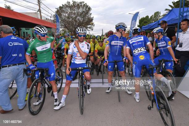Start / Remco Evenepoel of Belgium and Deceuninck QuickStep Team Green Best Young Rider Jersey /Julian Alaphilippe of France and Deceuninck QuickStep...