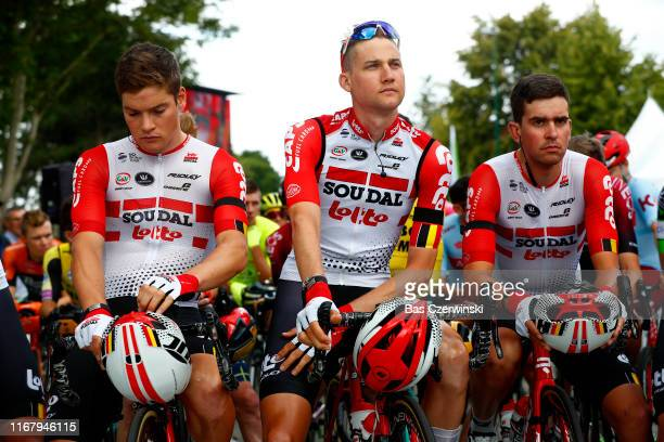 Start / Remy Mertz of Belgium and Team Lotto Soudal / Tim Wellens of Belgium and Team Lotto Soudal / Brian van Goethem of The Netherlands and Team...