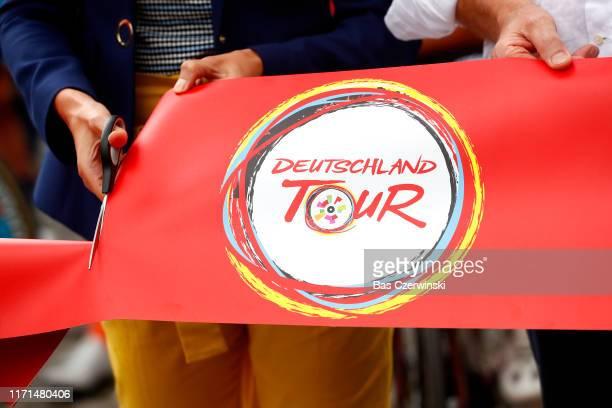Start / Ribbon / Detail view / during the 34th Deutschland Tour 2019, Stage 4 a 159,9km stage from Eisenach to Erfurt / @DeineTour / #DeutschlandTour...
