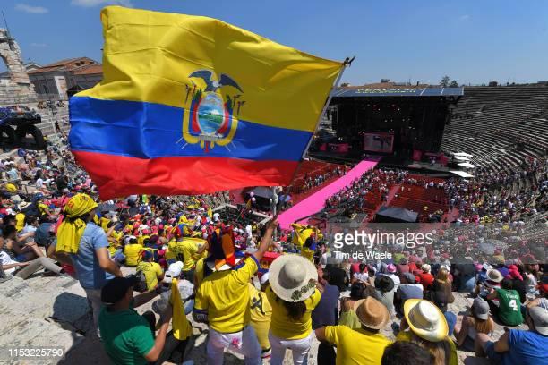 Start / Richard Carapaz of Ecuador and Movistar Team Pink Leader Jersey / Ecuatorian Fans / Public / Ecuador Flag / Landscape / Podium Area / during...