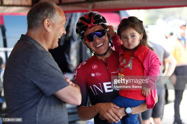 Start / Richard Carapaz of Ecuador and Team INEOS / Aimy Sofía Carapaz of Ecuador Daughter / during the 3rd Tour of Colombia 2020, Stage 5 a 180,5km...