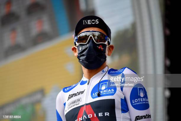 Start / Richard Carapaz of Ecuador and Team INEOS Grenadiers Polka Dot Mountain Jersey / Mask / Covid safety measures / Team Presentation / during...
