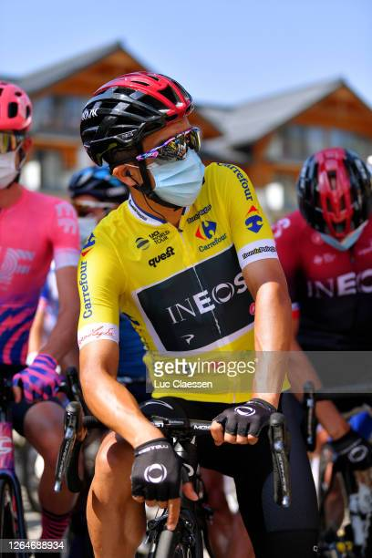 Start / Richard Carapaz of Ecuador and Team Ineos Yellow Leader Jersey / Covid safety measures / during the 77th Tour of Poland 2020, Stage 4 a 173km...