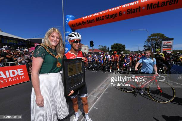 Start / Richie Porte of Australia and Team Trek-Segafredo / Onkaparinga Key Town Prize / during the 21st Santos Tour Down Under 2019, Stage 6 a...
