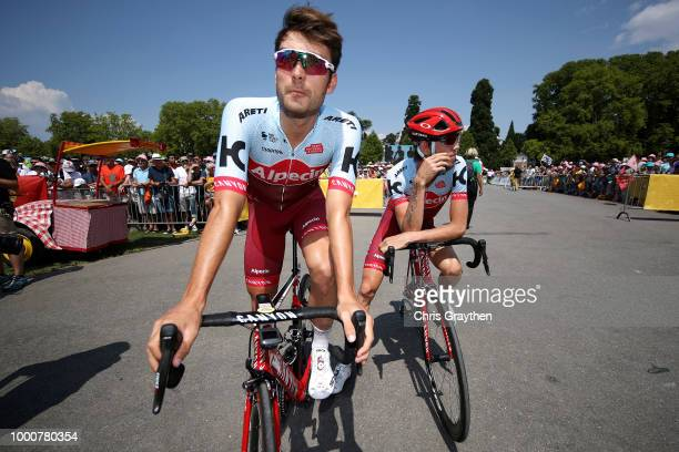 Start / Rick Zabel of Germany and Team Katusha / Ilnur Zakarin of Russia and Team Katusha / during the 105th Tour de France 2018 / Stage 10 a 1585km...