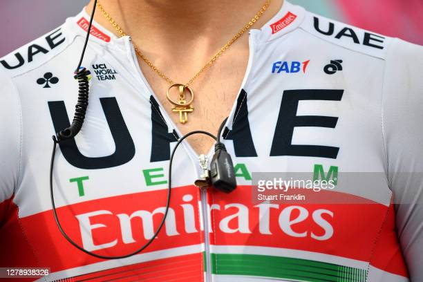 Start / Rider of UAE Team Emirates / Detail view / Team Presentation / during the 103rd Giro d'Italia 2020, Stage 5 a 225km stage from Mileto to...