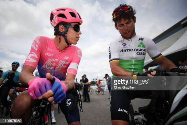 Start / Rigoberto Uran of Colombia and Team EF Education First / Mark Cavendish of United Kingdom and Team Dimension Data / during the 14th Amgen...