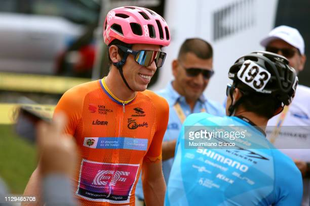 Start / Rigoberto Urán of Colombia and EF Education First Pro Cycling Team Orange Leader Jersey / Luis Felipe Laverde of Colombia and Team Gw Shimano...