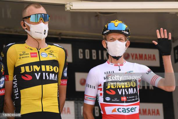 Start / Robert Gesink of Netherlands & Koen Bouwman of Netherlands and Team Jumbo - Visma Red Mountain Jersey during the 100th Volta Ciclista a...