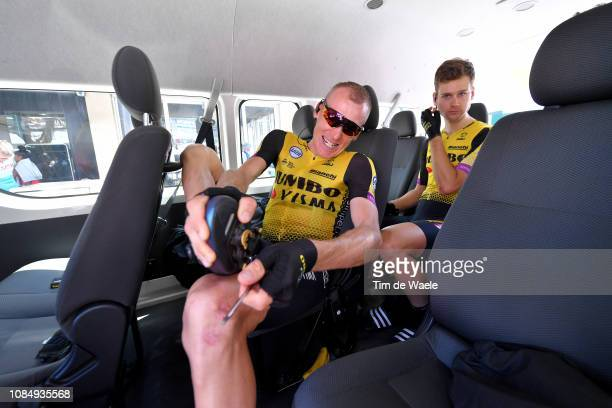 Start / Robert Gesink of The Netherlands of Team JumboVisma / Lennard Hofstede of The Netherlands of Team JumboVisma / during the 21st Santos Tour...