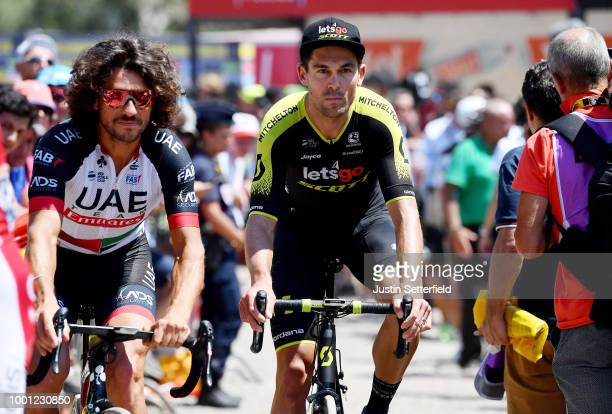 Start / Roberto Ferrari of Italy and UAE Team Emirates / Jack Bauer of New Zealand and Team Mitchelton-Scott / during the 105th Tour de France 2018,...