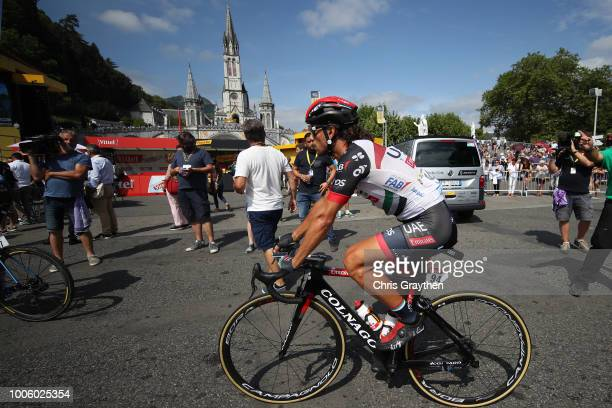 Start / Roberto Ferrari of Italy and UAE Team Emirates / The Sanctuary of Our Lady of Lourdes / during the 105th Tour de France 2018, Stage 19 a...