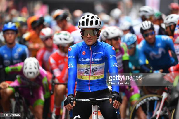 Start / Ruben Guerreiro of Portugal and Team EF Pro Cycling Blue Mountain Jersey / Alba Village / during the 103rd Giro d'Italia 2020, Stage 20 a...