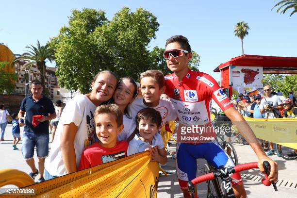Start / Rudy Molard of France and Team Groupama FDJ Red Leaders Jersey / Fans / Public / Children / during the 73rd Tour of Spain 2018 / Stage 8 a...