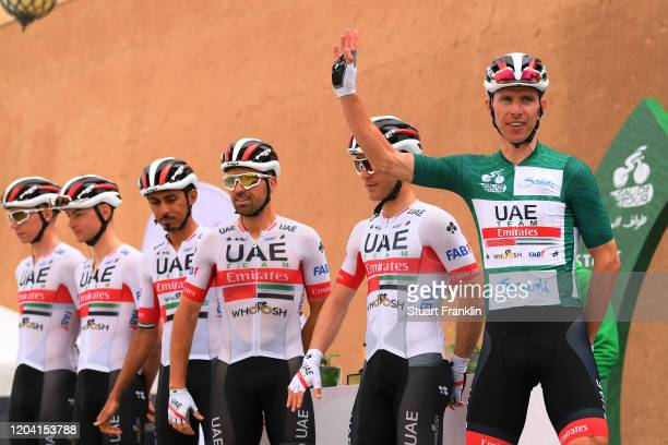 Start / Rui Costa of Portugal and UAE Team Emirates Green Leader Jersey / Valerio Conti of Italy and UAE Team Emirates / Alessandro Covi of Italy and...