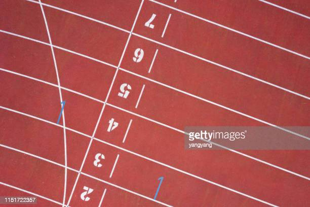 start running track in sport field - running track stock pictures, royalty-free photos & images