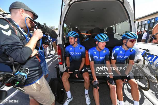 Start / Ryan Gibbons of South Africa Team NTT Pro Cycling / Dylan Sunderland of Australia Team NTT Pro Cycling / Samuele Battistella of Italy Team...