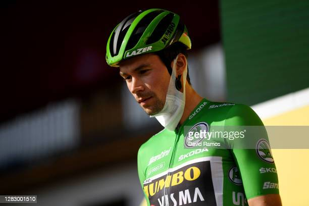 Start / Sam Bennett of Ireland and Team Deceuninck - Quick-Step Green Points Jersey / Mask / Covid safety measures / Team Presentation / during the...