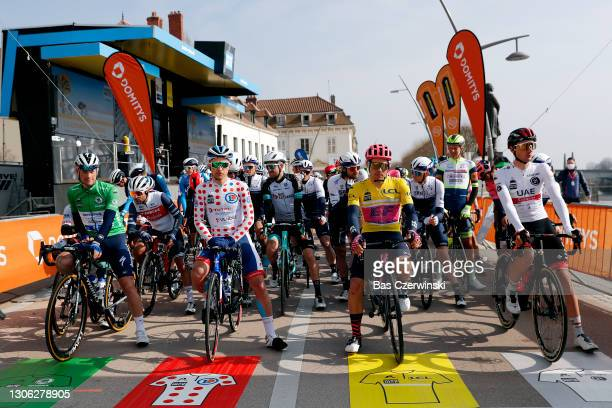 Start / Sam Bennett of Ireland and Team Deceuninck - Quick-Step Green sprint jersey, Fabien Doubey of France and Team Total Direct Energie Polka Dot...