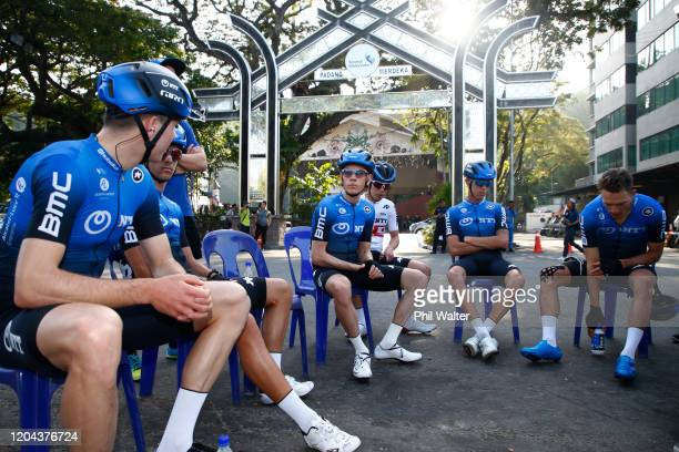 Start / Samuele Battistella of Italy and Team NTT Pro Cycling / Louis Meintjes of South Africa and Team NTT Pro Cycling / Dylan Sunderland of...