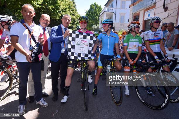 Start / Sarah Roy of Australia and Team MitcheltonScott Points Jersey / KarolAnn Canuel of Canada and Boels Dolmans Cycling Team Green Mountain...