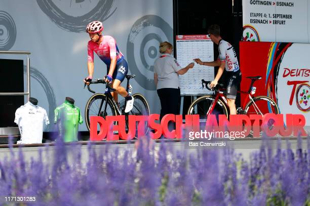 Start / Sean Bennett of The United States and Team EF Education First / Flowers / Team Presentation / during the 34th Deutschland Tour 2019, Stage 3...