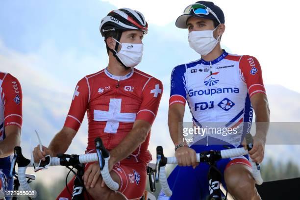 Start / Sebastien Reichenbach of Switzerland and Team Groupama - FDJ / Rudy Molard of France and Team Groupama - FDJ / Mask / Covid safety measures /...