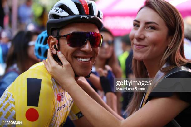 Start / Sebastián Molano of Colombia and Uae Team Emirates Yellow Points Jersey / Girldfriend / during the 2nd Tour of Colombia 2019 Stage 4 a 1444km...