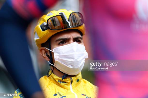 Start / Sergio Andres Higuita Garcia of Colombia and Team EF Education First Pro Cycling / Mask / Covid safety measures / Team Presentation / during...
