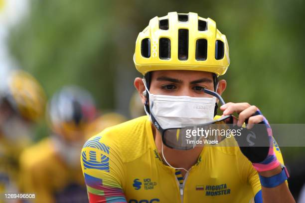 Start / Sergio Andres Higuita Garcia of Colombia and Team EF Pro Cycling / Mask / Covid Safety Measures / Nice City / during the 107th Tour de France...