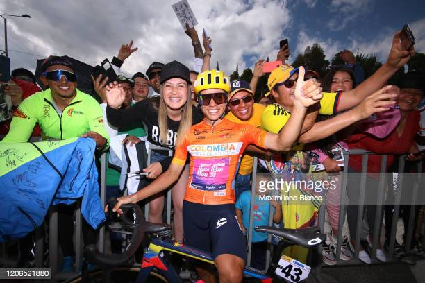 Start / Sergio Andres Higuita Garcia of Colombia and Team EF Pro Cycling Orange Leader Jersey / Fans / Public / during the 3rd Tour of Colombia 2020...