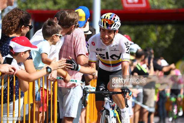 Start / Sergio Luis Henao Montoya of Colombia and Team Sky / Fans / Public / during the 73rd Tour of Spain 2018 Stage 9 a 2008km stage from Talavera...