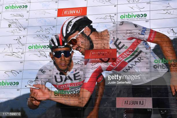 Start / Sergio Luis Henao Montoya of Colombia and UAE Team Emirates / Oliviero Troia of Italy and UAE Team Emirates / Signature / Andorra la Vella...