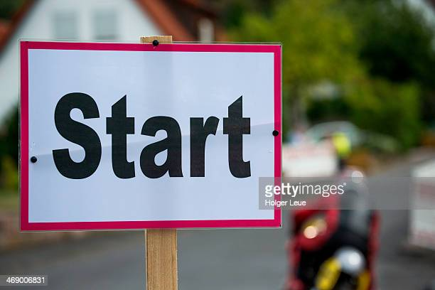 Start sign for motorcycle race