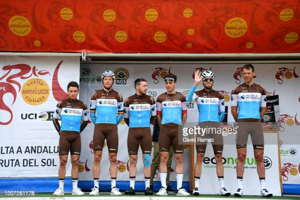 Start / Silvan Dillier of Switzerland and Team Ag2R La Mondiale / Lawrence Naesen of Belgium and Team Ag2R La Mondiale / Alexis Gougeard of France...